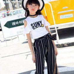 Girl's Fashion Exposed Shoulder T-shirt Striped Pant Set -