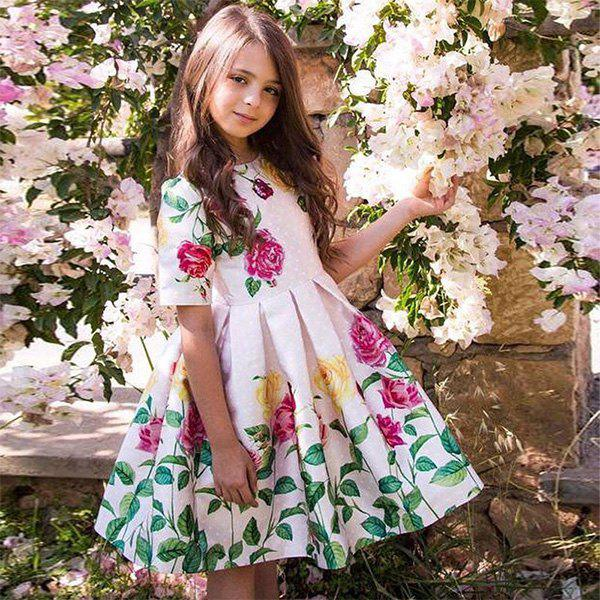 Best Duokipolla 8901 Girls Dress Rose Positioning Print Pleated Skirt