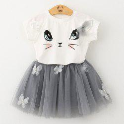 1036 Girls Short Sleeve Set Cute Cat T-shirt Puffy Skirt -