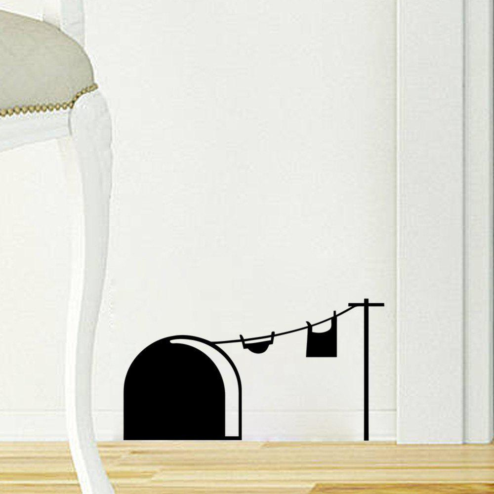 33001 Cute Mouse Hole Carved Wall Stickers Personality Creative Living Room Bedroom Decoration