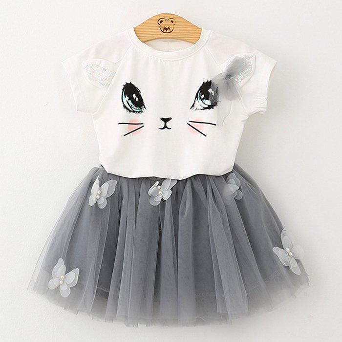 Store 1036 Girls Short Sleeve Set Cute Cat T-shirt Puffy Skirt
