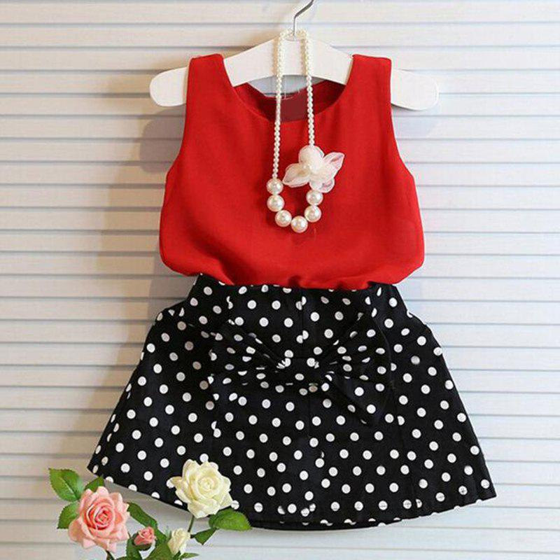 Girls Wave Point Bow Cotton Top Skirt Two-piece