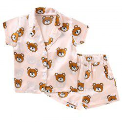 Girls Home Fashion Bear Pajamas Set -