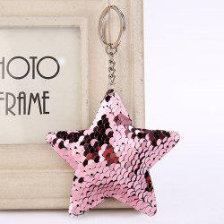 Cute Chaveiro Star Glitter Pompom Sequins Key Ring -