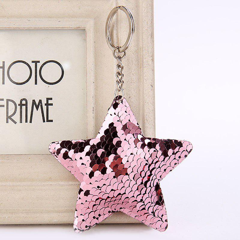 New Cute Chaveiro Star Glitter Pompom Sequins Key Ring