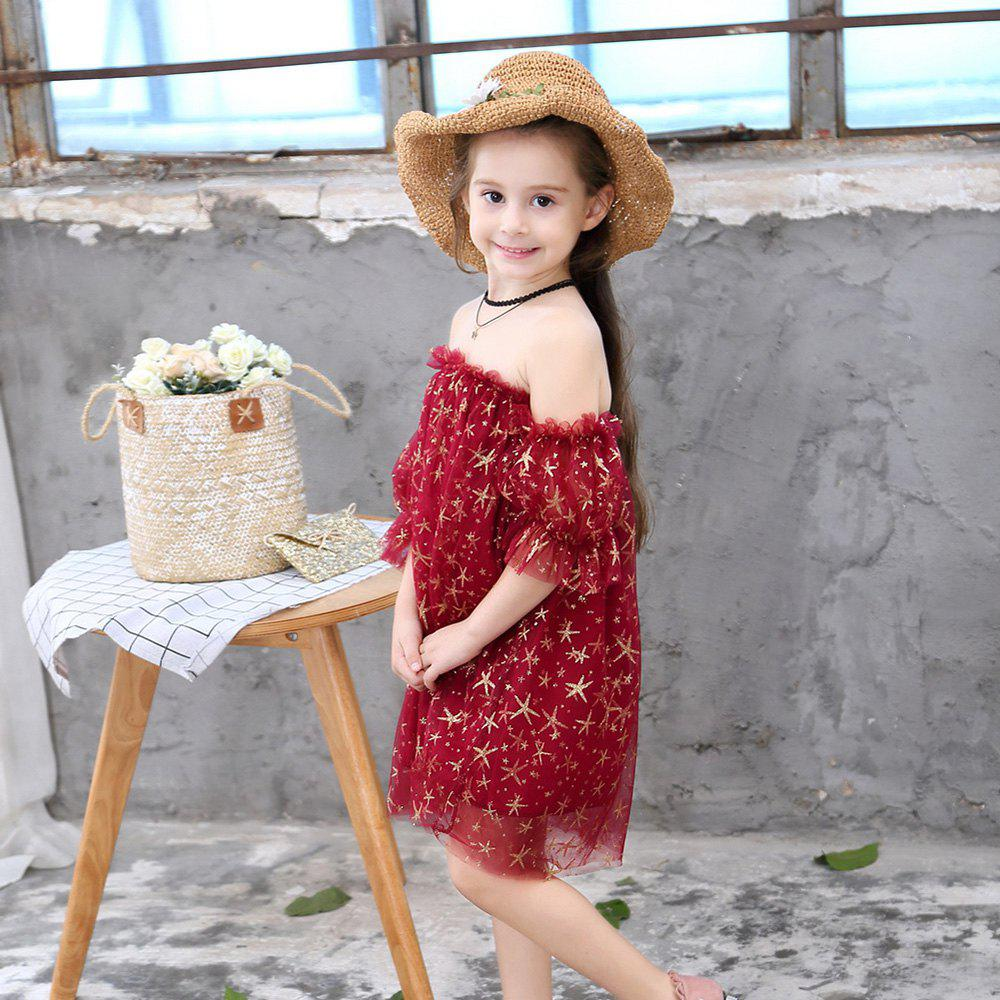 Latest 1134 Spring Summer Girls Starfish Dress Mesh Off-shoulder Skirt