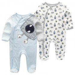 KIDDIEZOOM RFL2202 Infant Romper Cotton Material Breathable Warm Baby Clothes 2pcs -