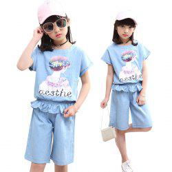 XXNH - 86 Girls Thin Denim T-shirt Shorts Fashion Casual Style -