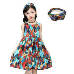 XXNH - 305 Girls Fashion Geometric Pattern Dress with Hair Band -