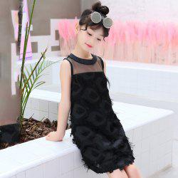665 Girls Fashion Casual Feather Vest Dress -