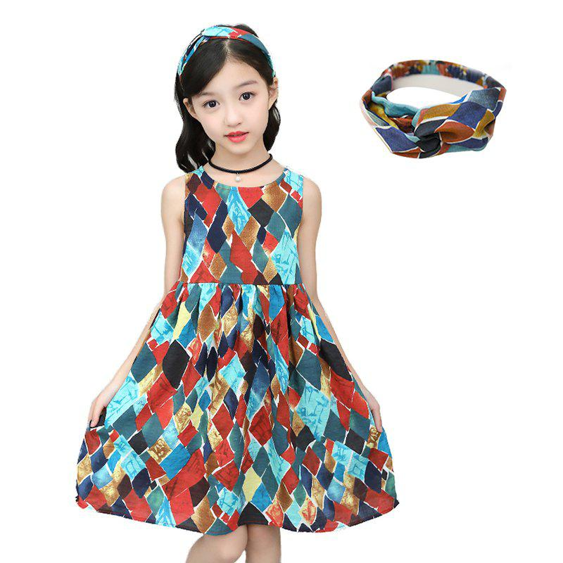 Outfit XXNH - 305 Girls Fashion Geometric Pattern Dress with Hair Band