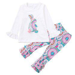 3264 Girls Rabbit Print Easter Set -