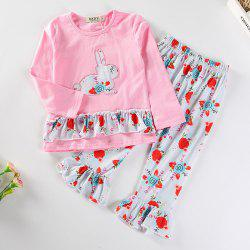 3262 Girls Print Rabbit Embroidered Easter Set -