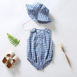 3279 Girl Blue Plaid Jumpsuit Sunhat -