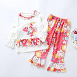3296 Easter Bunny Print Girls Spring Long Sleeve Top Bell-bottomed Pants Set -