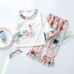3295 Easter Bunny Print Girls Spring Long Sleeve Top Bell-bottomed Pants Set -