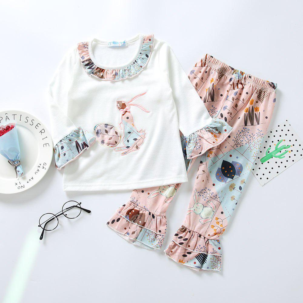 Outfit 3295 Easter Bunny Print Girls Spring Long Sleeve Top Bell-bottomed Pants Set