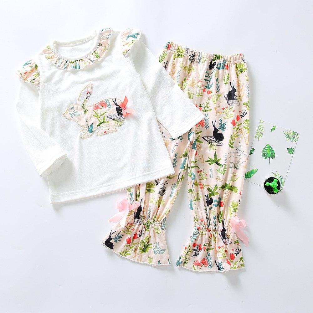 Unique 3297 Easter Bunny Print Girls Spring Long Sleeve Top Bell-bottomed Pants Set
