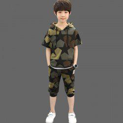 611 Boys Fashion Casual Hooded Camouflage Suit -