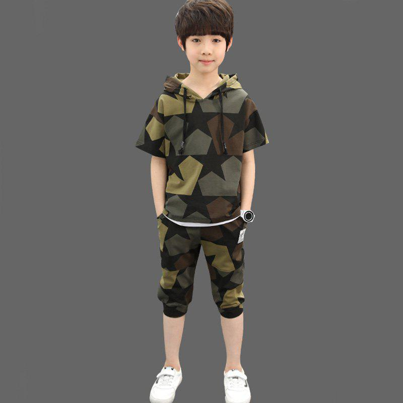 Sale 611 Boys Fashion Casual Hooded Camouflage Suit