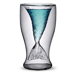 Clear Fishtail Double Wall Heat-proof Vodka Cocktail Wine Cup Bar Party Crystal Transparent Mermaid Shot Glassware -