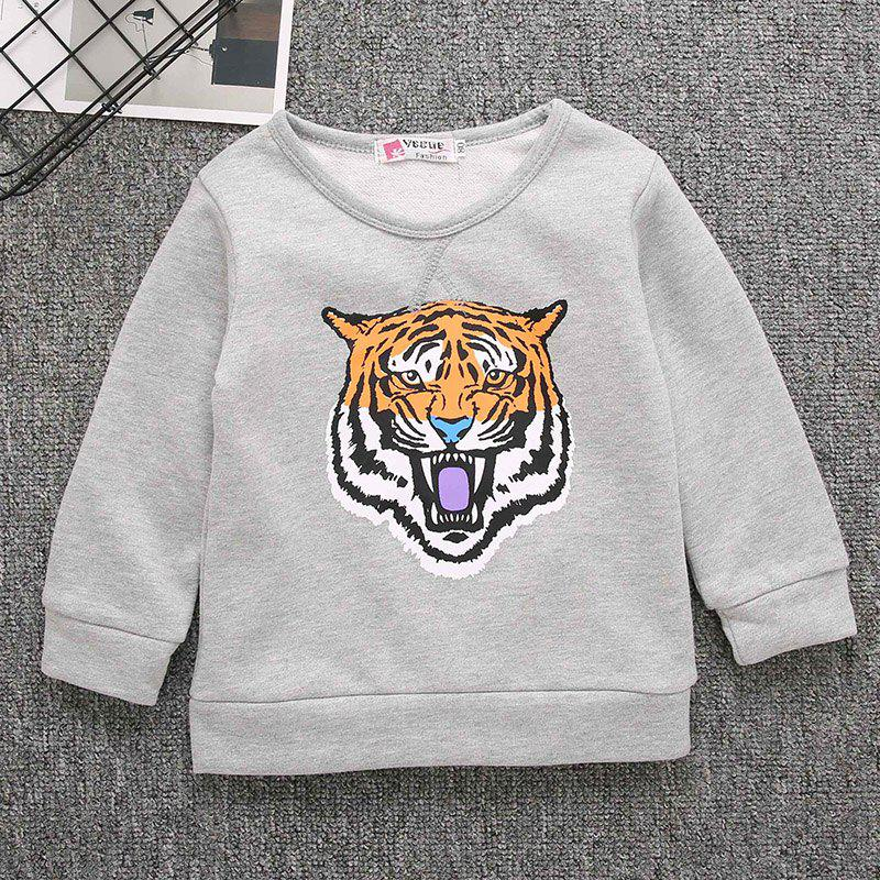 Unique Boy Cartoon Tiger Head Printing Velvet Sweater Long Sleeve Shirt
