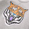 Boy Cartoon Tiger Head Printing Velvet Sweater Long Sleeve Shirt -
