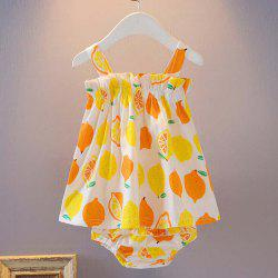 Fruit Print Strapless Sling Wrap Skirt + Triangle Shorts Baby Two-Piece Set -