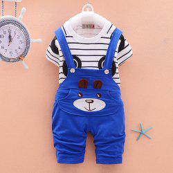 Striped Panda Short-sleeved Overalls Children Sports Suit -