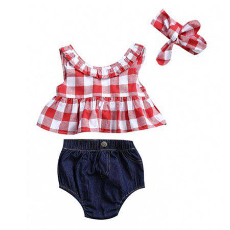Buy Girl Bow Plaid Split Suit