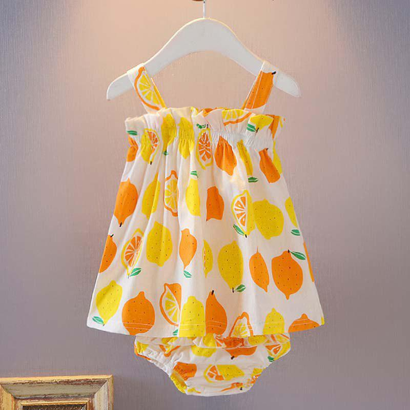 Discount Fruit Print Strapless Sling Wrap Skirt + Triangle Shorts Baby Two-Piece Set