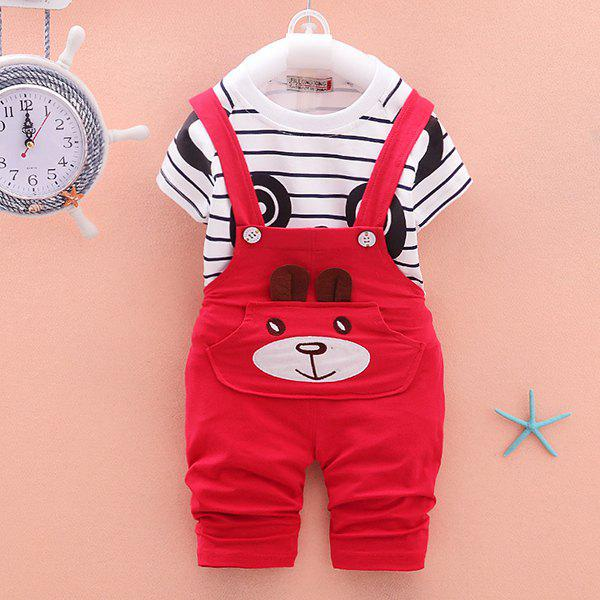 Shops Striped Panda Short-sleeved Overalls Children Sports Suit