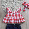 Girl Bow Plaid Split Suit -