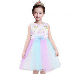 Duokipolla Girls Dress 3D Embroidery Flowers Rainbow Stitching Mesh Skirt -
