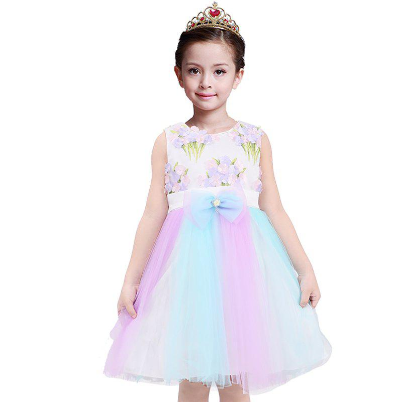 Fashion Duokipolla Girls Dress 3D Embroidery Flowers Rainbow Stitching Mesh Skirt