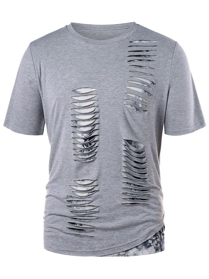Men's T-shirt Fashion Hole Short Sleeve