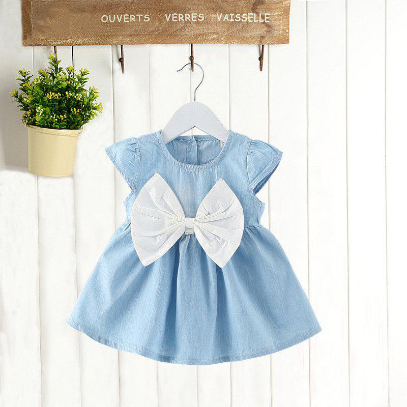 Trendy MAIDUOBAO Girl's Solid Color Bow Denim Dress