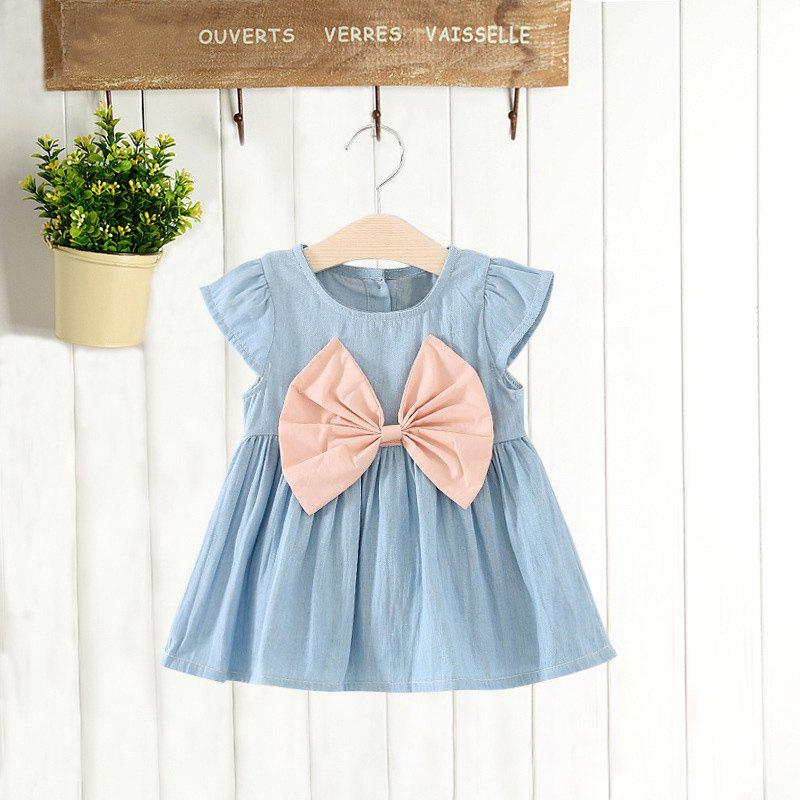 Buy MAIDUOBAO Girl's Solid Color Bow Denim Dress