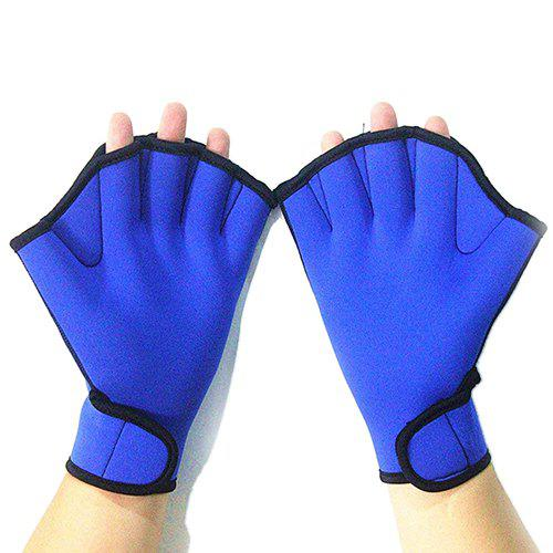 Half Fingers Paddles Blue Swim Fins 2pcs