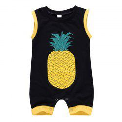 Boy Cartoon Cute Pineapple Print Sleeveless Romper -