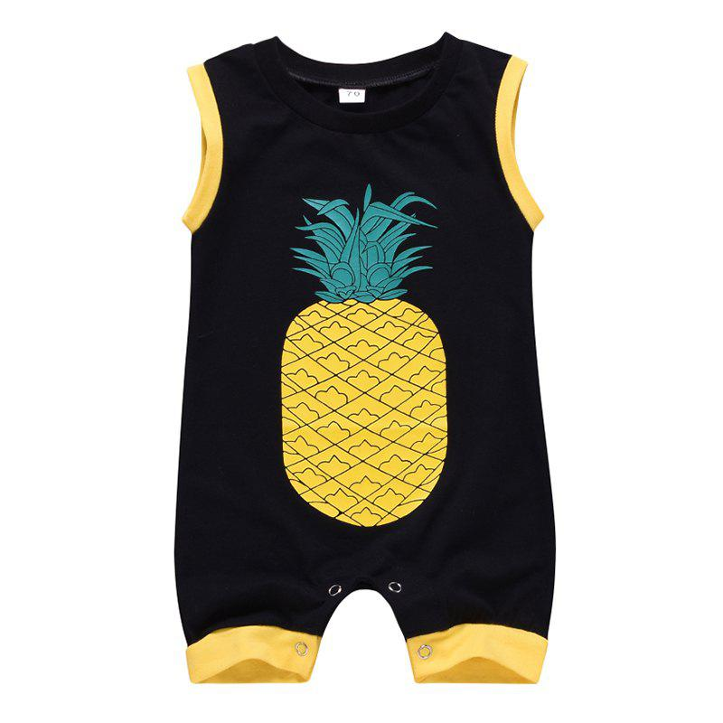 Best Boy Cartoon Cute Pineapple Print Sleeveless Romper