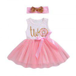 Girls Dress Round Neck Letter Print Dot Mesh Hair Band Princess Skirt -