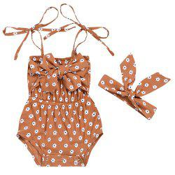 A08 Girl Fashion Suspenders Scarf Infant Clothing Set -