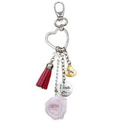 3D Special Simulation Model Love Heart Shaped Rose Key Chain Mother Gift Keyring -