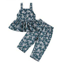 Girls Tide Green Full Printed Floral Jumpsuit Pants Waistcoat -