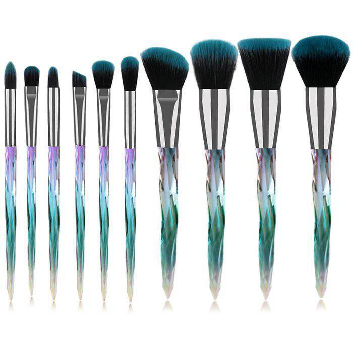 Outfit TS - 10 - 088 Clear Crystal Handle Makeup Brush Set 10pcs