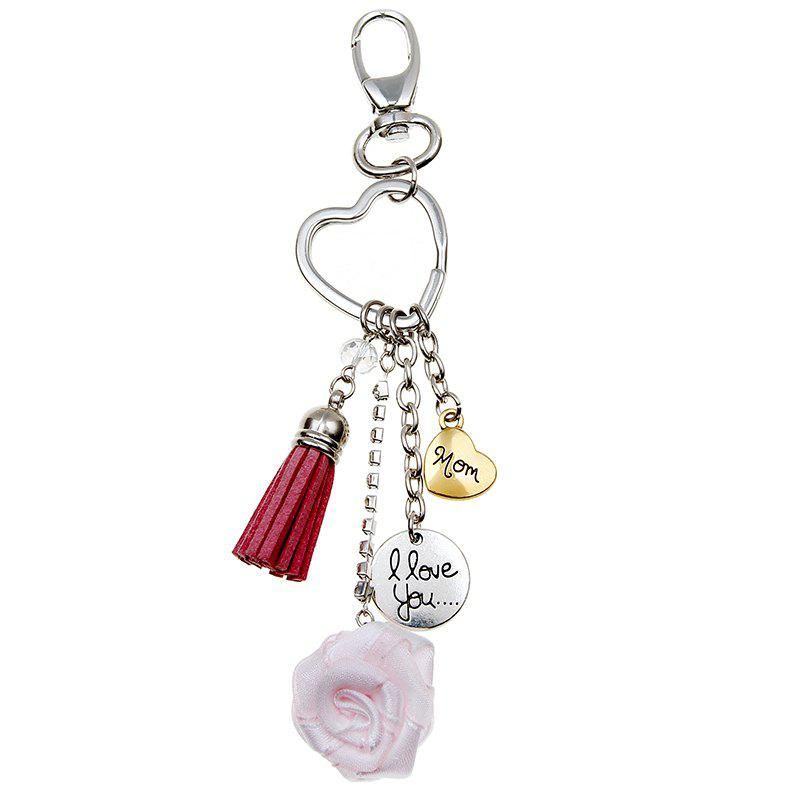 Chic 3D Special Simulation Model Love Heart Shaped Rose Key Chain Mother Gift Keyring