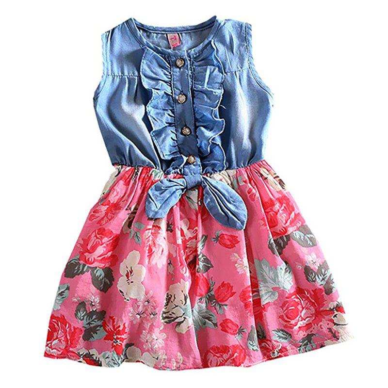 Chic Girls Sleeve Cutting Jean Flower Printed Dress Summer Children Cake Skirt