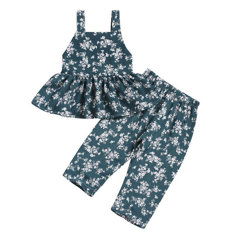 Unique Girls Tide Green Full Printed Floral Jumpsuit Pants Waistcoat