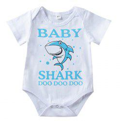 Cartoon Shark Alphabet Print Infant Romper Children Jumpsuit -